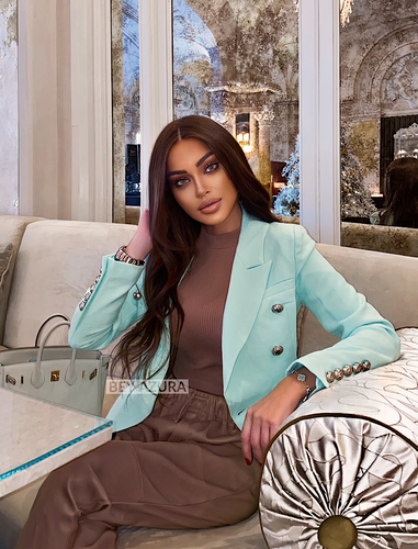 Mint Green Silver Buttoned Double Breasted Blazer - Beyazura.com