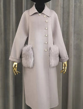 Load image into Gallery viewer, Long Australian Wool Coat With Fox Fur Pockets - BEYAZURA.COM