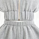 Elastic Waist Shorts and Hoodie Top Two Piece Set - Beyazura.com