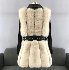Four Panel Fox Fur Gilet Leather Trim Coat - BEYAZURA.COM