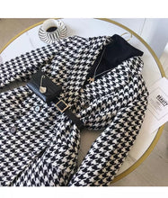 Load image into Gallery viewer, Houndstooth Long Sleeve Outerwear Belted Jacket