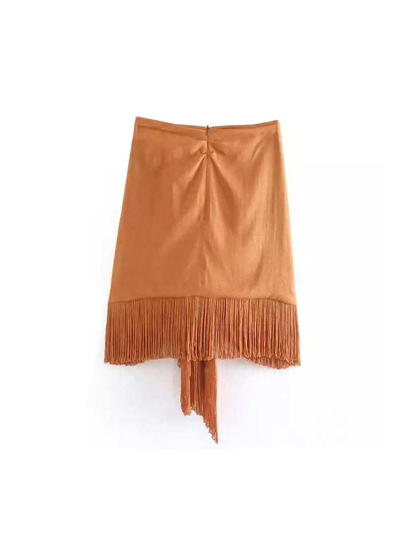 Asymmetrical Hem Tassel Detailed Mini Skirt - Beyazura.com