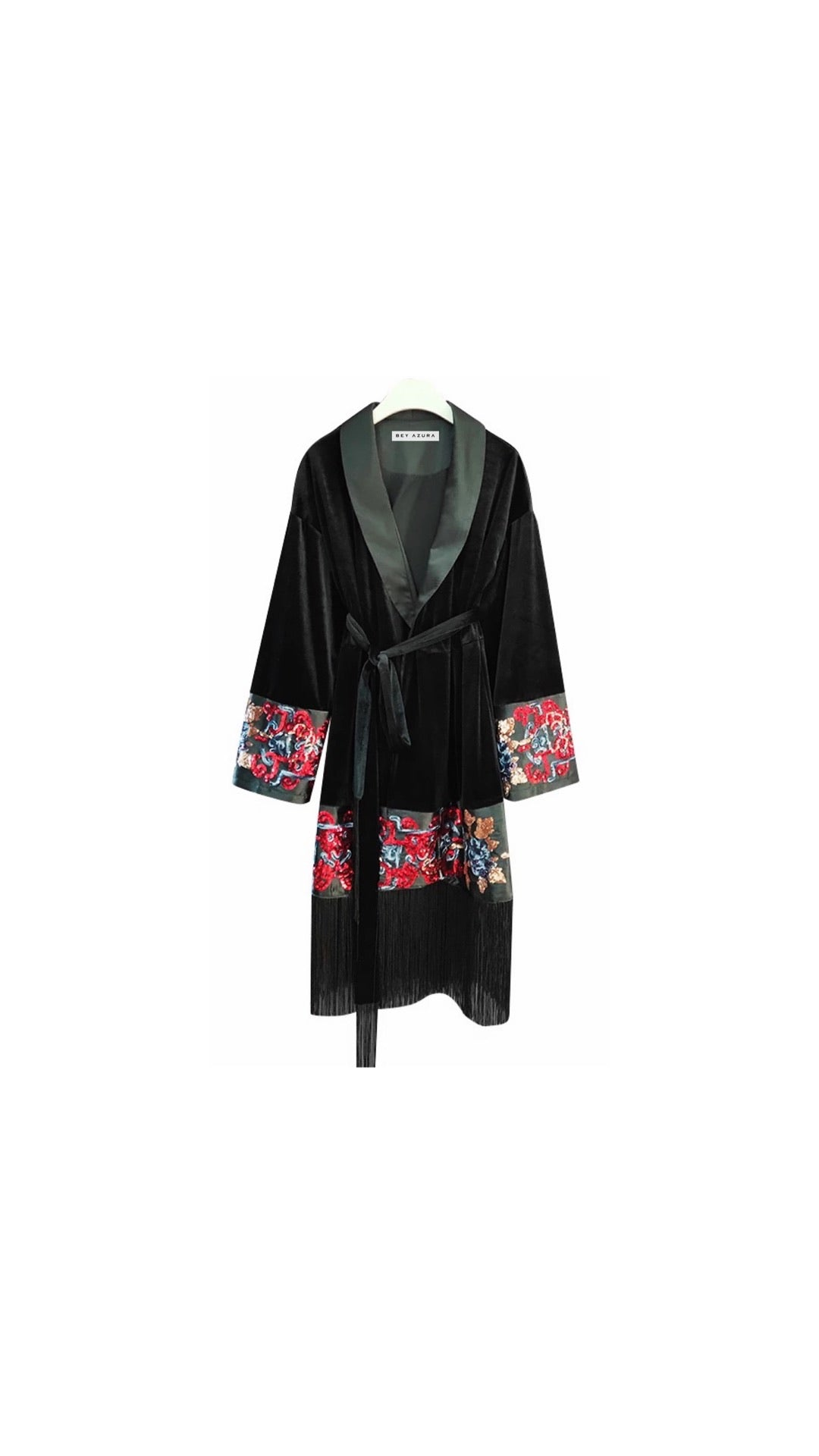 Velvet Embroidered Tassel Hem Belted Trench Dress - BEYAZURA.COM