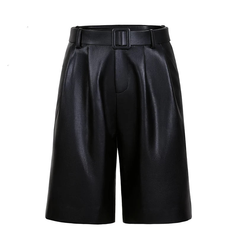 Vegan Leather Ruched Belted Shorts - BEYAZURA.COM