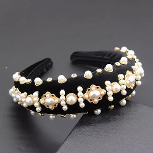 Lux Velour Crystal And Pearl Decorated Headbands - BEYAZURA.COM