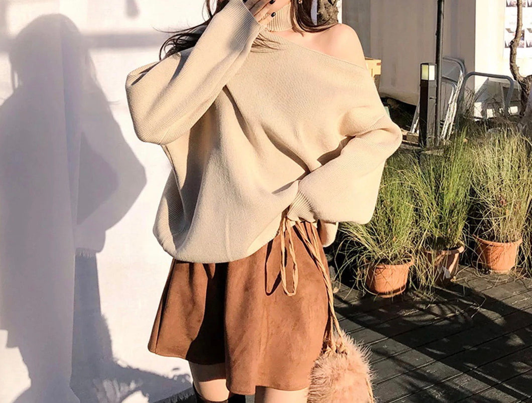 Cut Out Shoulder High Neck Knit Sweater - BEYAZURA.COM