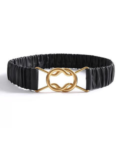 Black Pu Leather Elastic Gold Buckle Belt - BEYAZURA.COM
