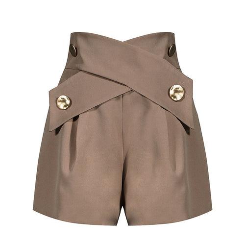 Brown High Waisted Ruched Gold Button Shorts - BEYAZURA.COM