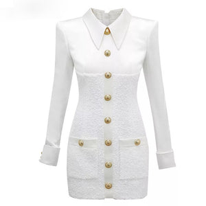 White Tweed Gold Buttoned Dress - BEYAZURA.COM