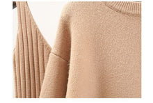 Load image into Gallery viewer, Cashmere Soft Ribbed Knit Dress And Long Sleeve Sweater Cashmere Two Piece Set - BEYAZURA.COM