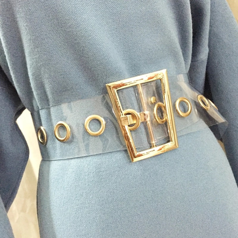 CLEAR BELT WITH GOLD BUCKLE