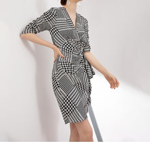 Load image into Gallery viewer, Houndstooth Print Puff Sleeve Ruched Mini Dress - BEYAZURA.COM