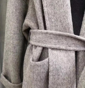 Double Faced Belted Wool Cashmere Coat With Fur Hoodie - BEYAZURA.COM