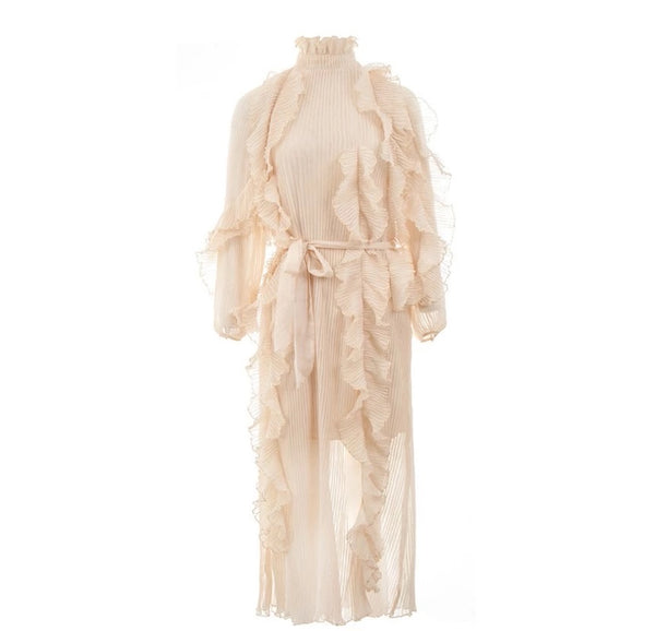 Beige High Neck Ruffle Pleated Maxi Dress - Beyazura.com