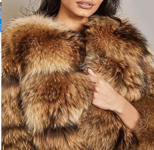 Cropped Dusty Brown Raccoon Fur Coat - Beyazura.com