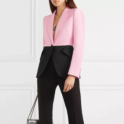 Black And Pink Contrast Color Blazer - Beyazura.com