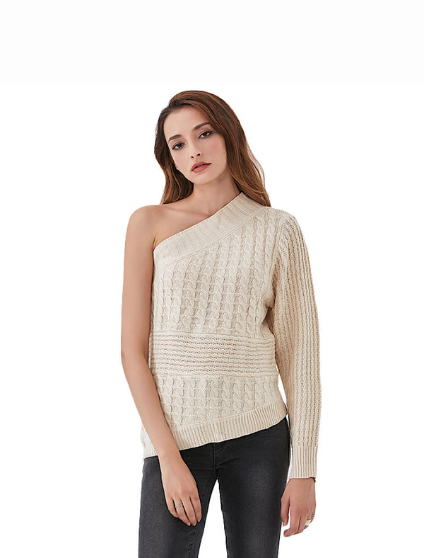 Beige One Shoulder Cable Knit Sweater - Beyazura.com