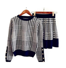 Load image into Gallery viewer, Houndstooth Knitted Long Sleeve Top and Elastic Waist Skirt Two Piece Set - Beyazura.com