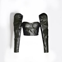 Load image into Gallery viewer, Pu Leather Puff Long Sleeve Crop Bandage Top in Black - BEYAZURA.COM