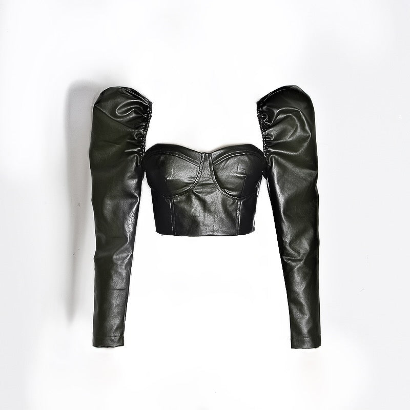 Pu Leather Puff Long Sleeve Crop Bandage Top in Black - BEYAZURA.COM