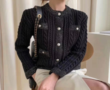 Load image into Gallery viewer, Chain Stitch Warm Sweater With Pearl Buttons - Beyazura.com