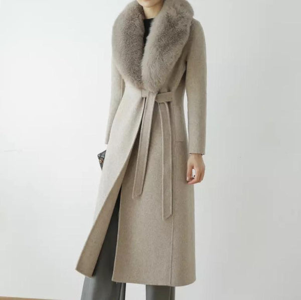 Long Wool Cashmere Coat With Removable Fox Fur Trims - Beyazura.com