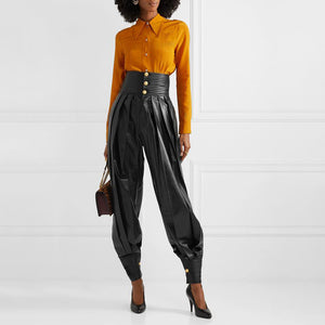 Vegan Leather High Waist Buttoned Hem Pleated Pants - BEYAZURA.COM