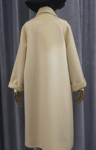 Long Australian Wool Coat With Fox Fur Pockets - BEYAZURA.COM