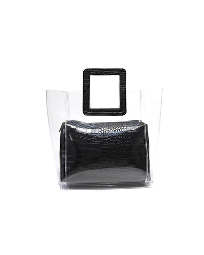 Pu Leather Pouch Clear Handbag - Beyazura.com