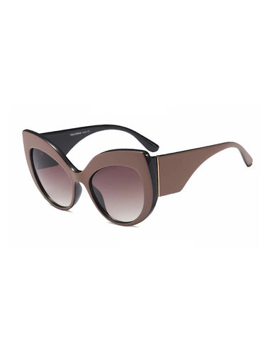 Thick Frame Cat Eye Sunglasses With Coffee Black Lenses