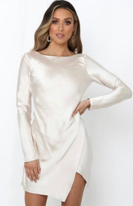 Pleated Asymmetrical Hem Backless Short Dress in Champagne - BEYAZURA.COM