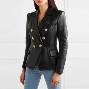 Lambskin Leather Gold Trimmed Blazer Jacket - BEYAZURA.COM