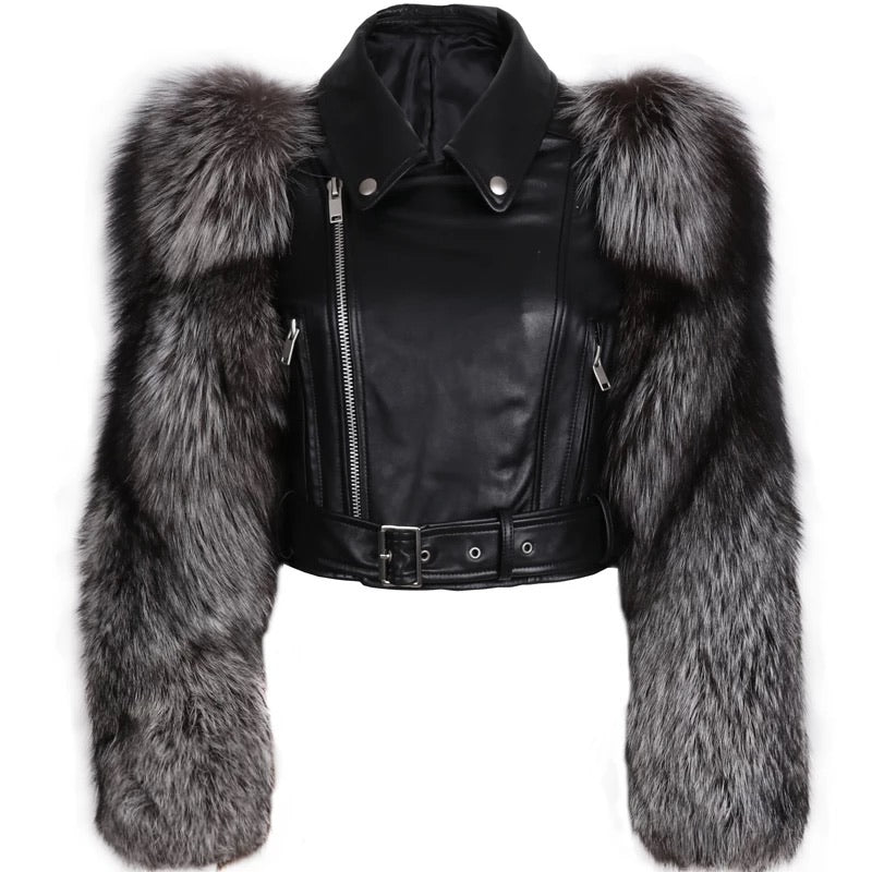 LEATHER BIKER JACKET WITH FLUFFY FUR SLEEVES