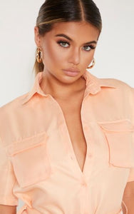 PLT Peach Utility Short Sleeve Shirt Dress - BEYAZURA.COM
