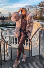 Load image into Gallery viewer, Suede Striped Fox Fur Coat With Removable Sleeves - BEYAZURA.COM