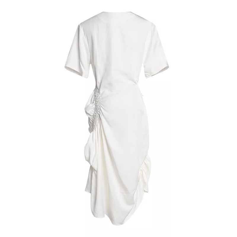 White Elastic Ruched Asymmetrical Dress - Beyazura.com