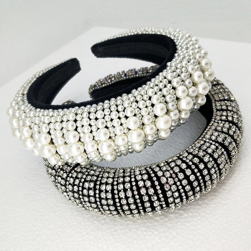 Super Lux Crystal Pearl And Bead Headbands - BEYAZURA.COM
