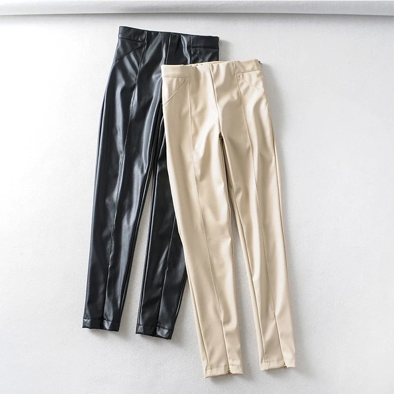Faux Leather Zippered Ankle Leggings - BEYAZURA.COM