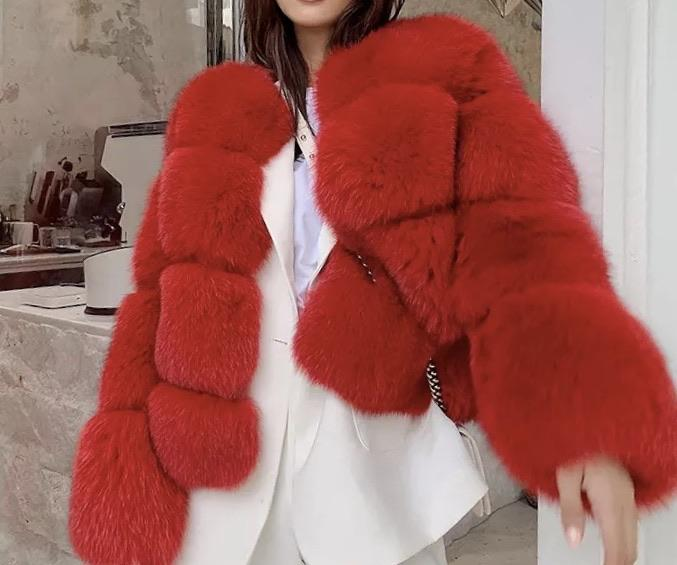 GENUINE FOX FUR FOUR HORIZONTAL PANEL COAT - BEYAZURA.COM