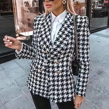 Load image into Gallery viewer, Black And White Houndstooth Blazer Coat With Gold Buttons - BEYAZURA.COM