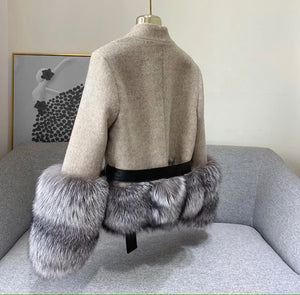 Cashmere Jacket with Dusty Black Fox Fur Trim Leather Waist Tie - BEYAZURA.COM