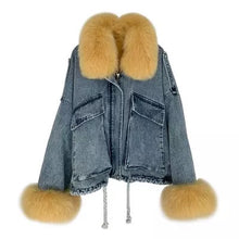 Load image into Gallery viewer, Genuine Fox Fur Trimmed Denim Jackets - BEYAZURA.COM