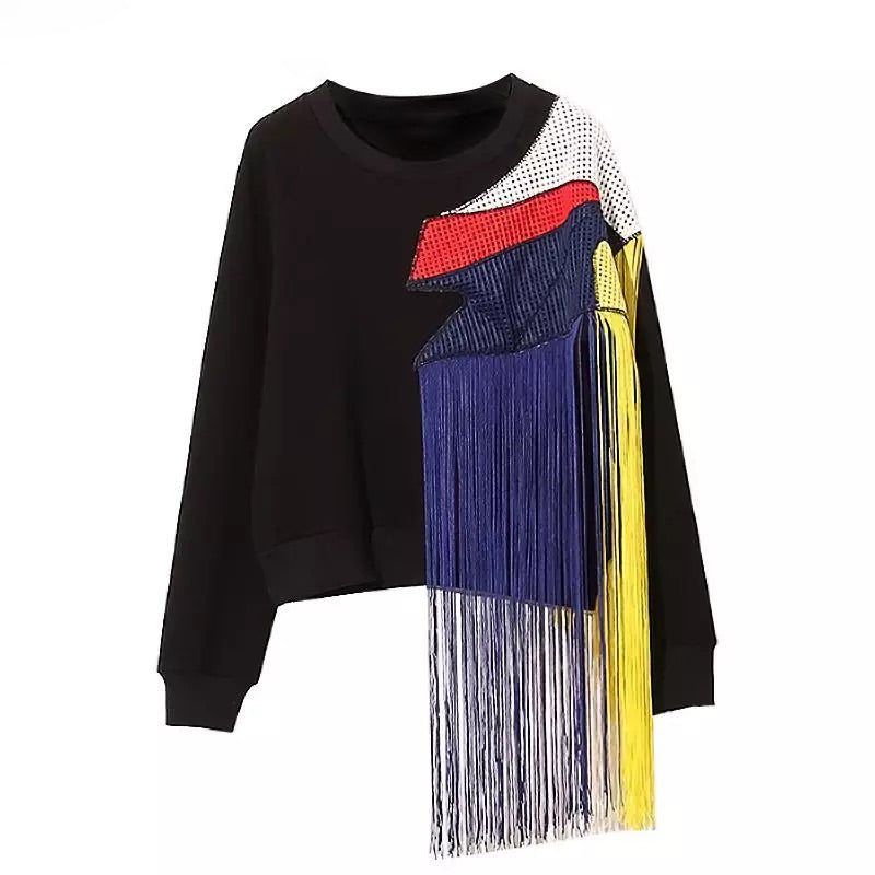 COLORFUL PATCHWORK LONG TASSEL PULLOVER