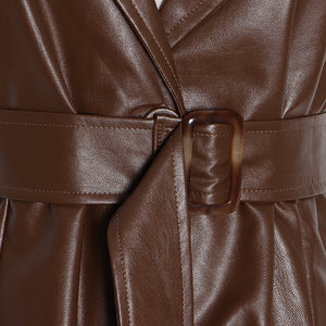 Vegan Leather Long Vest Belted Dress - BEYAZURA.COM