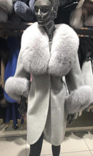 Load image into Gallery viewer, Long Alpaca Cashmere Fox Fur Collar Coat - BEYAZURA.COM