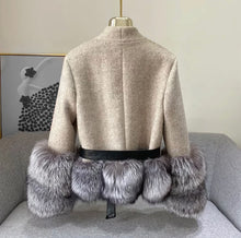 Load image into Gallery viewer, Cashmere Jacket with Dusty Black Fox Fur Trim Leather Waist Tie - Beyazura.com