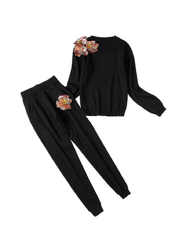 Black Two Piece Knit Set With Sequin Flowers - BEYAZURA.COM