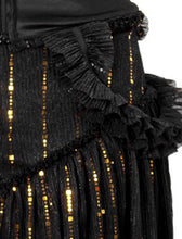 Load image into Gallery viewer, Black Ruched Ruffle Sequin Striped Short Dress