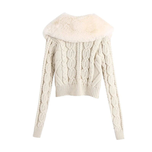Beige Cable Knit Short Sweater With Faux Fur Collar - Beyazura.com