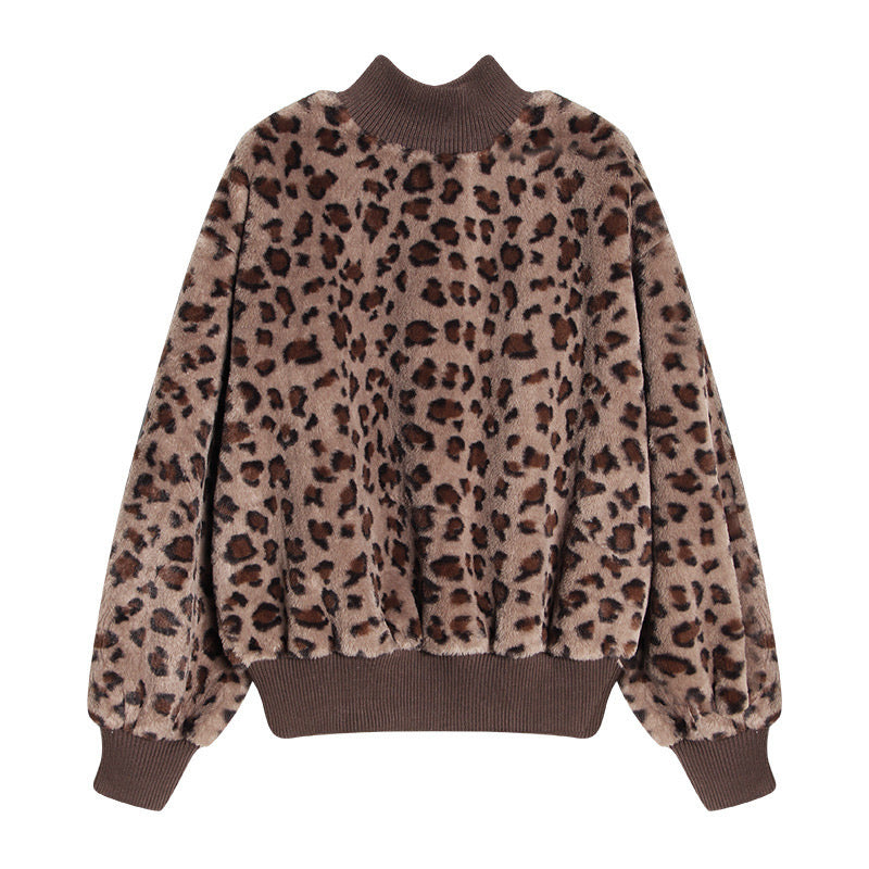 LEOPARD PRINT HIGH NECK FLUFFY WARM SWEATER